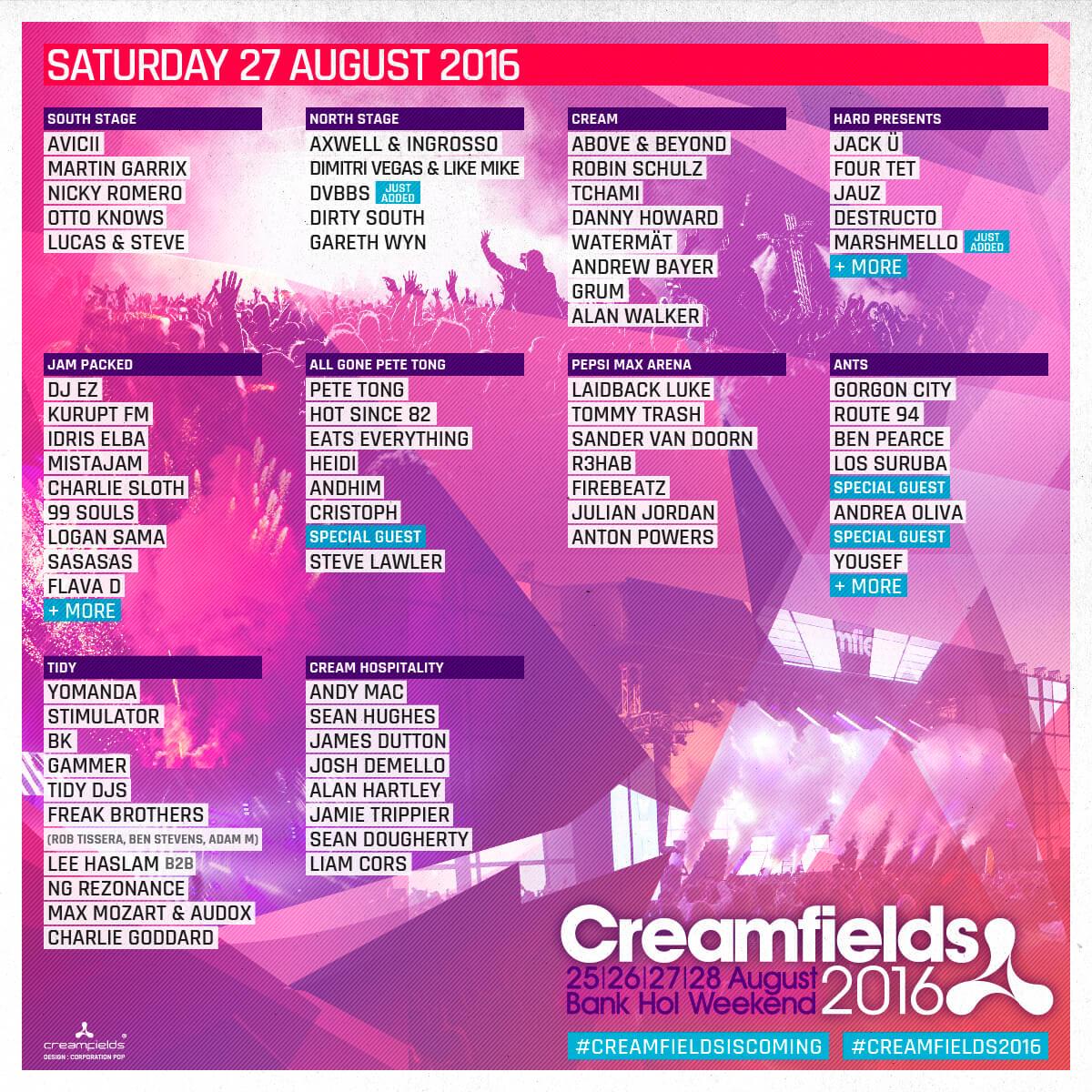 Cream Fields 2016: The Full Line up - Flick Of The Finger